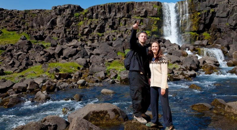 Romantic shot in Waterfall Thingvellir Iceland