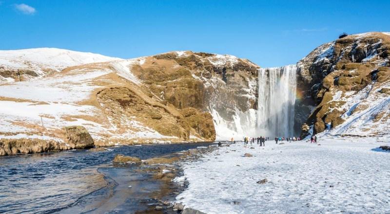 Skogafoss Waterfall Iceland Winter View Jpg